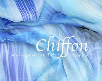 Ocean Blue Tonal Chiffon Fabric faux silk by the yard