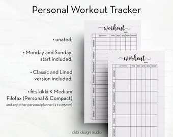 Workout Tracker, Personal Planner Inserts, Workout Planner, Fitness Tracker, Workout Log, Printable Planner, Fitness Planner, Health Planner