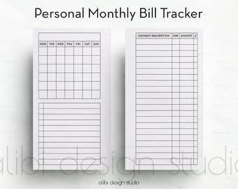 Bill Tracker, Personal Planner, Finance Planner, Printable Planner, Personal Inserts, Planner Inserts, Bills, Bill Calendar, Budget Planner