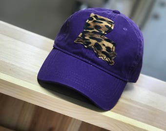Hat with Leopard Print State Applique