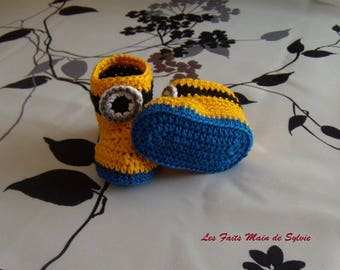 Minion slippers for baby 0/3 months crocheted