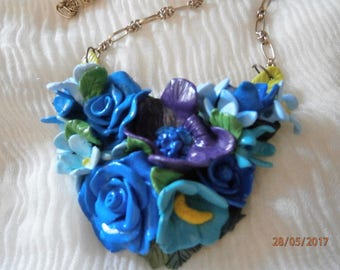 BLUE BOUQUET in polymer clay with roses and anemones