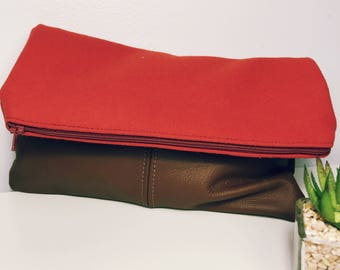 Fold Over Clutch-Genuine Leather- Zipper Clutch, gift for her,- day- evening