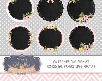 SALE Chalkboard Floral Labels Clipart, Chalkboard Wedding, Chalkboards Baby Shower, Chalkboards Circles Floral, Blackboard circles floral