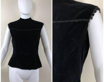 Vintage Womens 1960s Jo Collins Black Velvet Button Back Sleeveless Top with Tiny Tassel Trim | Size S/M