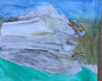 Glitter rocks-watercolor on watercolor paper