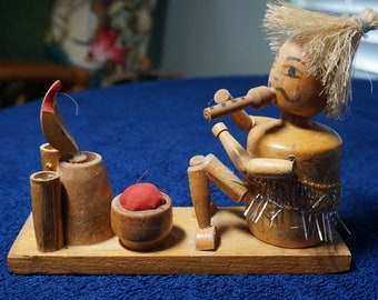 Wooden Movable Snake Charmer Collectible Figurine with Movable Snake Vintage Rare