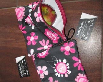 Bag snack, sandwich bag, bag reutilisable.sac Pul floral black background