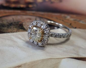 Yellow Diamond Engagement Ring 18K