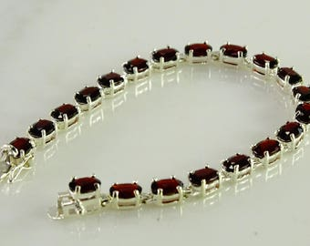 "Dark Red Stone Sterling Bracelet 7 1/2""   (g11)"