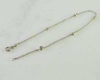 """Clear stone Anklet 925 10 1/2"""" Sterling"""