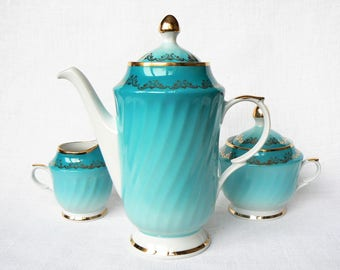 COFFEE Set Vintage/ Porcelain Coffee Pot, Creamer, Sugar Bowl/ Blue & Gold/ Vintage Coffee Serving/ Latvia 1980s