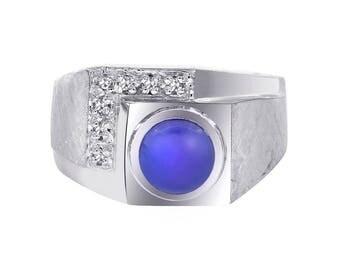 1.00 Carat Man Made Star Sapphire Diamond Accent Mans Ring 14K White Gold