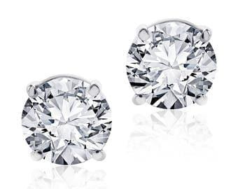 1.50 Carat Round Cut Diamond Stud Earrings F-G/VS2 14K White Gold