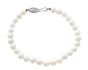 5.25 mm Freshwater Pearl Bracelet 14K White Gold Lock