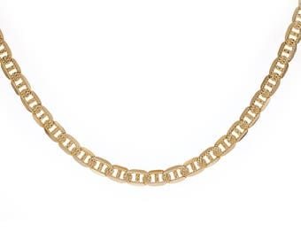 """14K Yellow Gold Diamond Cut Gucci Link Chain 21"""" Inches Made In Italy"""