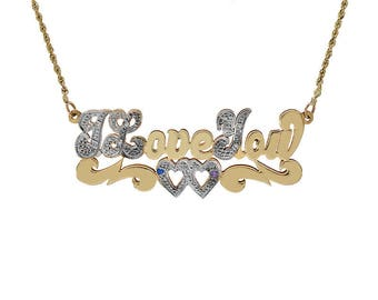 "I Love You Pendant Necklace With Diamond & Gemstone Accent 20"" 14K Two Tone Gold"