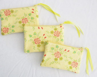 Yellow Pink and Green Spring Flowers Coin Purse Zippy Pouch Organizer Pouch Zipper bag Gift Card Holder and more