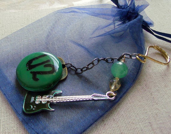 Band Key chain - U2 concert tour gift -   Innocence - red musical instrument - green glass pendant - Guitar charm  - brown guitar charm