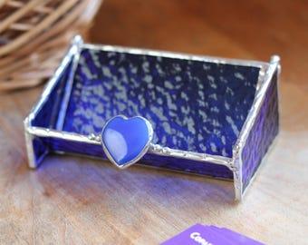Glass Business Card Holder - Rich Cobalt Blue with Blue Agate Heart