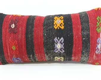 Decorative Kilim Pillow Ethnic Pillow Home Decor 12x24 Anatoian Kilim Pillow Sofa Pillow Ethnic Pillow Cushion Cover SP3060-1117