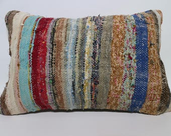Multicolor Cotton Kilim Pillow Home Decor Cushion Cover Bohemian Kilim Pillow Sofa Pillow Decorative Kilim Pillow 16x24 SP4060-894