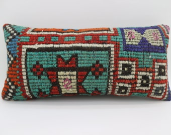 12x24 Kilim Pillows Embroidered Pillow Turkish Decorative Pillow Striped  Pillow Geometric Pillow 12x24 Turquoise Pillow  SP3060-1657