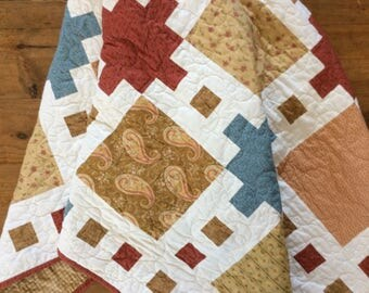 Modern Lap Quilt, Quilts for Sale, Handmade Quilt, Country Quilt, Homemade Blanket , Pink, Blue
