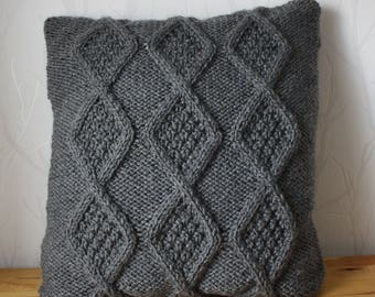 Grey cable sweater pillow throw, knitted pillow cover, cushion