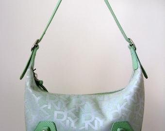 DKNY Logo Print Mint Color Clutch Bag