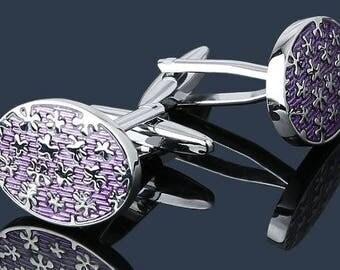 Purple Paint Oval CuffLinks -B142 Free Gift Box**