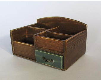 ON SALE Desk Organizer Office Organizer Pencil Cup Office Decor Caddy Tools Office Supplies Holder  Distressed Finish Walnut Colo