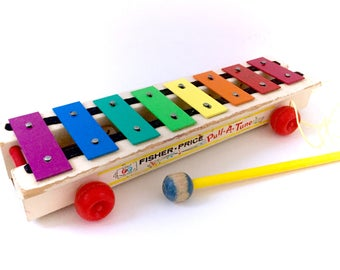 1964 Vintage Fisher Price Pull-A-Tune Xylophone Musical Instrument COMPLETE With Stick #870 Musical Instrument Rainbow Piano
