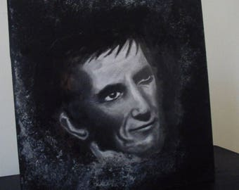 Original Portrait of Barnabas Collins, mixed media art. Drawing and acrylics on wooden panel. 1897 Dark Shadows. Vampire art.
