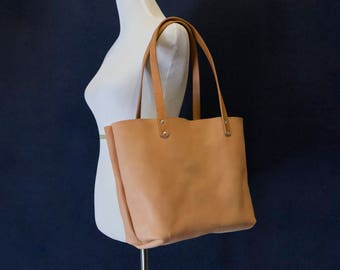 Natural Vegetable Tanned Leather Tote Shoulder Bag Made in USA
