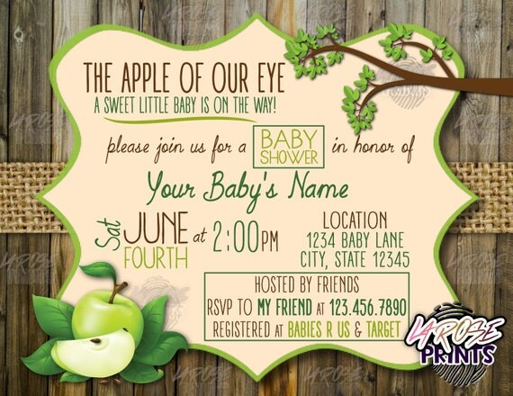 apple of my eye baby shower invitation