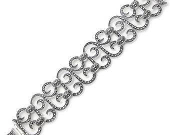 925 Sterling Silver, Marcasite Bracelets, Weighs 41.7 gram