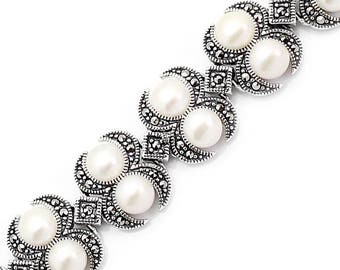 925 Sterling Silver, Marcasite Bracelets with pearl, Weighs 35.2 gram