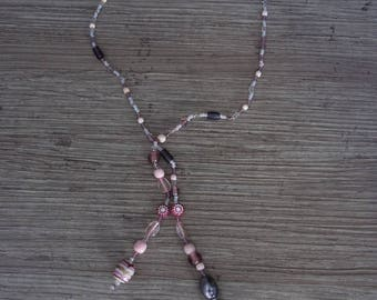 long pink purple necklace / necklace for ceremony / pink tones pendant / mother's day jewelry