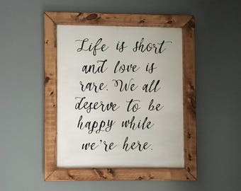 Favorite Short Quote Sign in Thick Wooden Frame