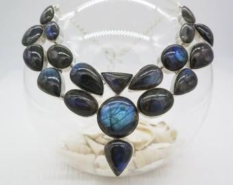 Blue Fire Labradortie Sterling Silver Necklace