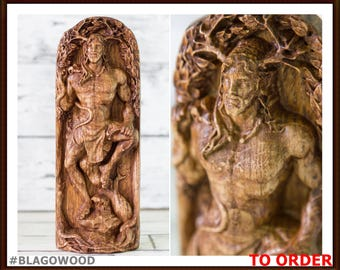Cernunnos, wooden, Cernun, horned god, celtic god, pagan god, wiccan, wicca, altar, druid, witcher, gaelic