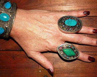 Vintage Turquoise Ring Afghan Kuchi Ring Ethnic Tribal Ring Gypsy Oval Statement Ring