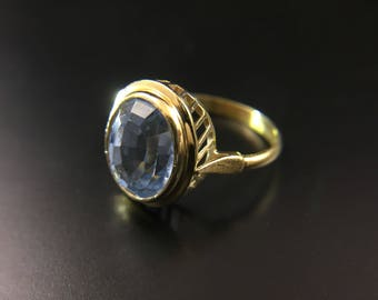 18K yellow gold ring with blue topaz stone, size 6, weight 4.7 grams