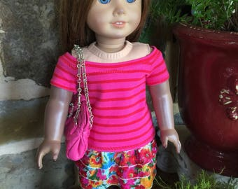 """Handmade pink stripe top with a three tiered floral skirt. Quilted purse also designed to fit 18"""" doll like the AG or  American Girl doll"""