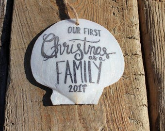 CLEARANCE: Our First Christmas as a Family Ornament, Beach Christmas Tree, Blended Family Ornament, Christmas Decor, Coastal Christmas