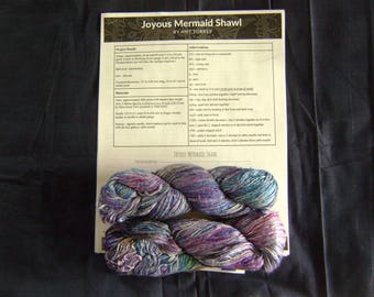 Joyous Mermaid Shawl Kit with Lace Weight Silk Cloud Yarn