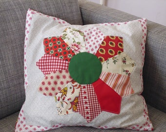 patchwork style Cushion cover country red and green colors