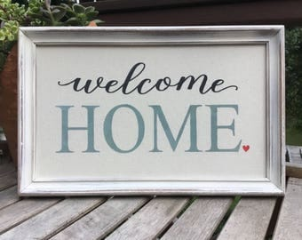 Welcome Home,Family saying,framed canvas print,gallery wall sign,subway art,inspirational saying,framed signed saying,welcome sign,home sign