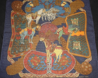 """Hermes Silk/Cashmere Scarf """"Art of the Steppes"""" / PROMOTION! Free shipping. HERMES"""